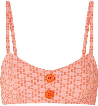 Genevieve Seersucker Bikini Top - Orange