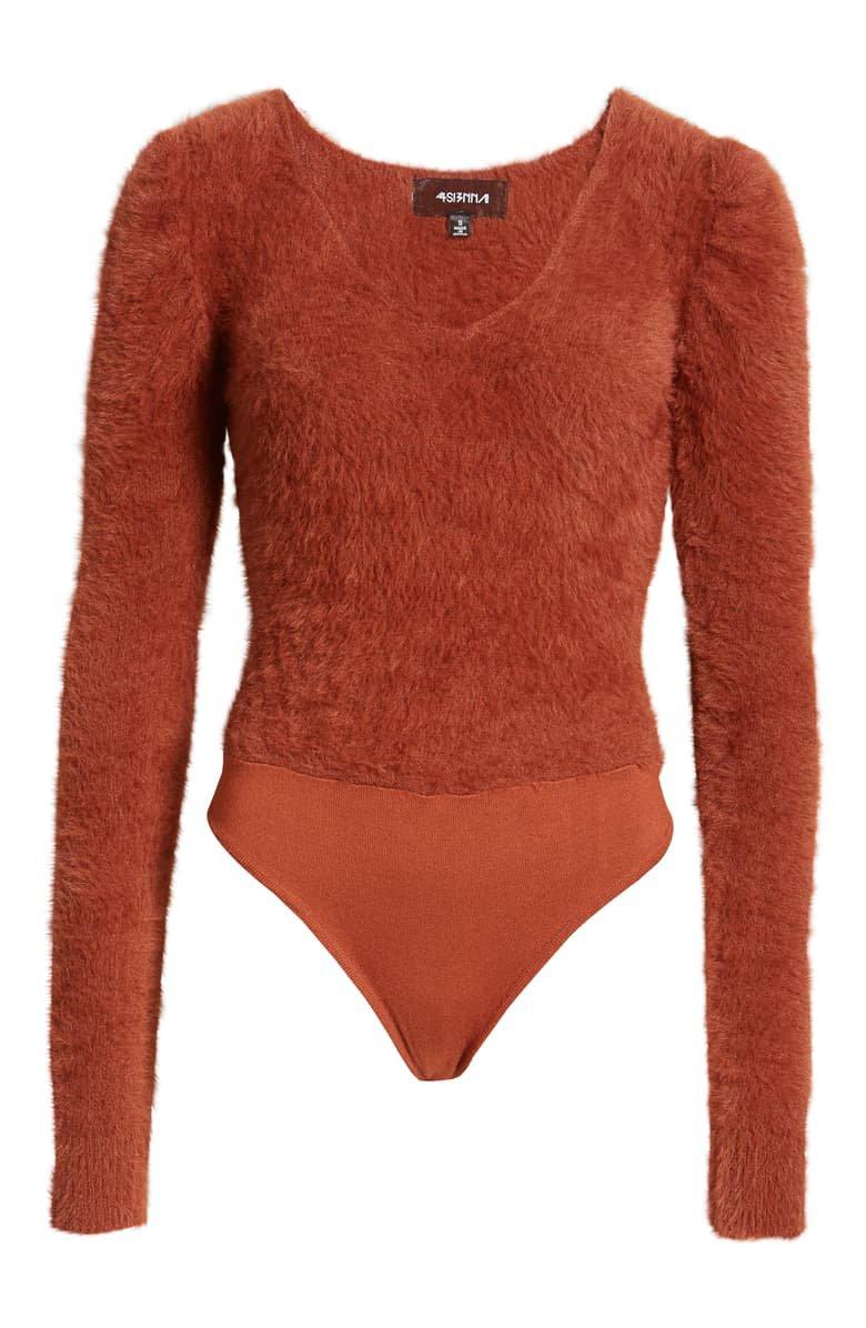 4SI3NNA Maggie Fuzzy Long Sleeve Bodysuit brown