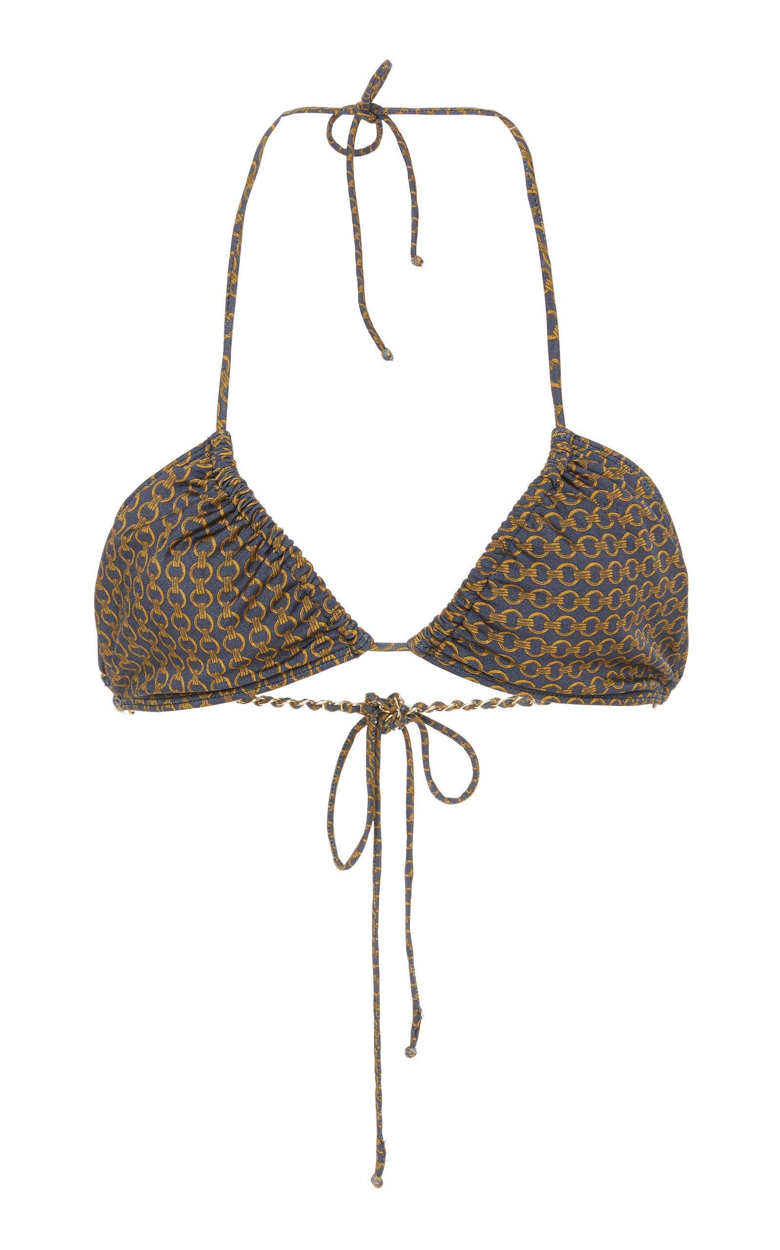 Jonathan Simkhai Chain Print Triangle Bikini Top