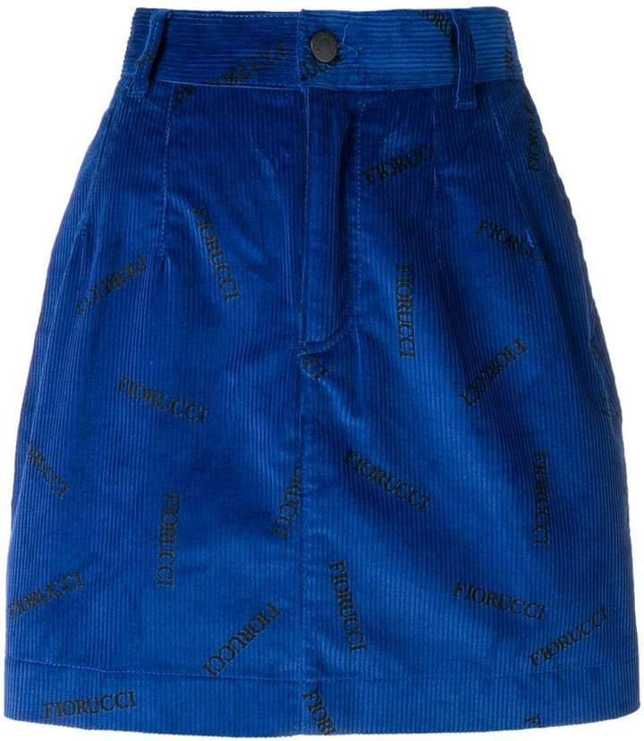 logo print corduroy skirt