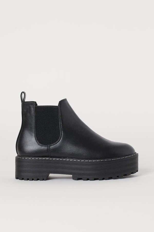 Platform Chelsea Boots - Black