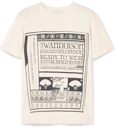 Distressed Printed Cotton And Silk-blend Jersey T-shirt - Off-white