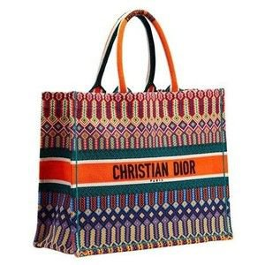 DIOR BOOK TOTE BAG IN MULTI-COLOURED EMBROIDERED CANVAS