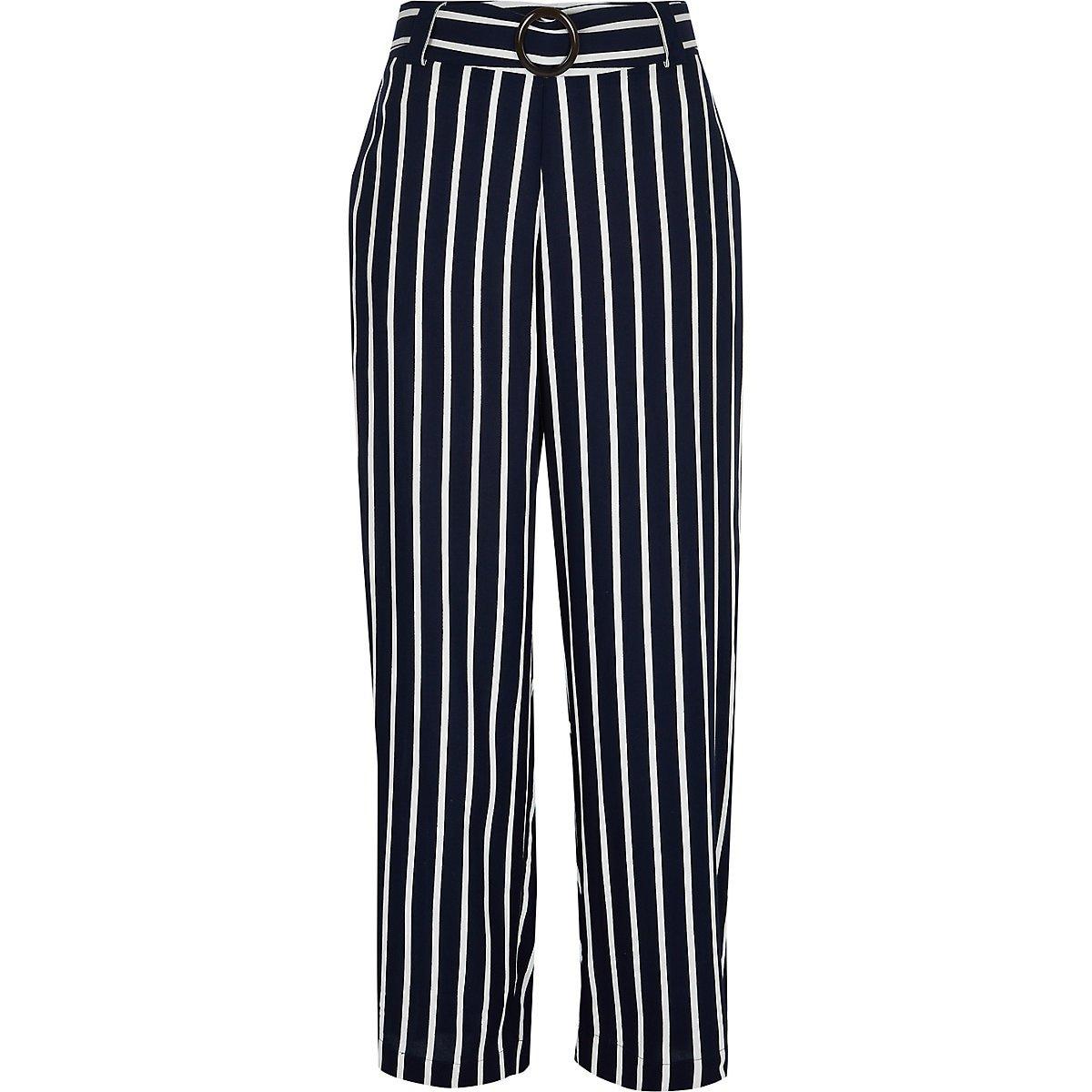 Navy stripe wide leg pants - Wide Leg Pants - Pants - women
