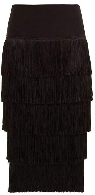 Fringed Pencil Skirt - Womens - Black
