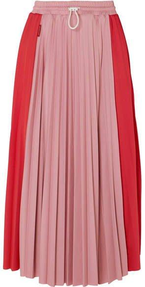 Pleated Satin Midi Skirt - Red