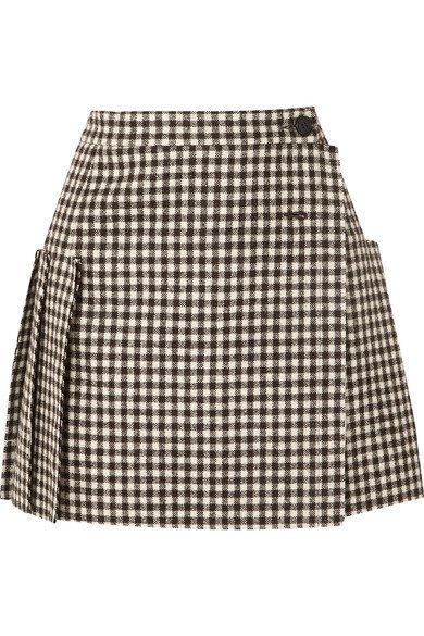 Vivienne Westwood   Frayed pleated gingham wool wrap mini skirt   NET-A-PORTER.COM