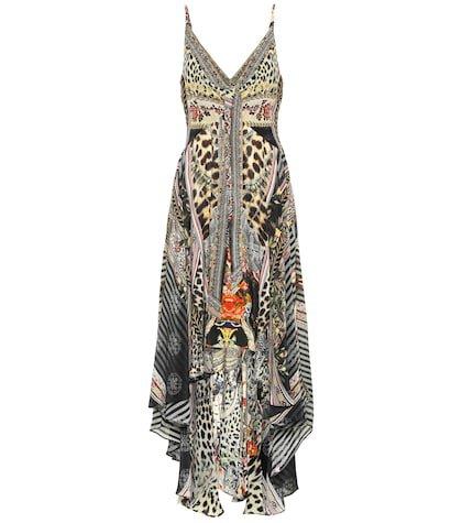 Embellished printed silk midi dress