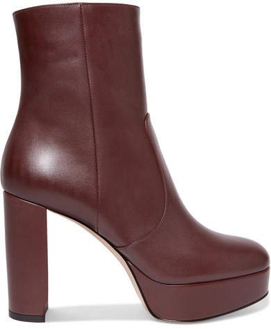 Leather Platform Ankle Boots - Burgundy