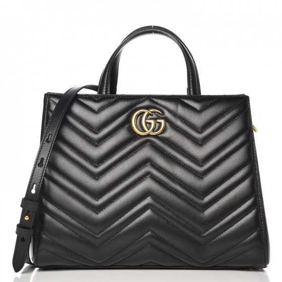 GUCCI Calfskin Matelasse Small GG Marmont Top Handle Bag Black 264732