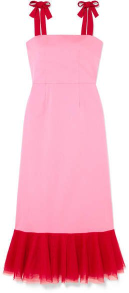 STAUD - Langdon Tulle-trimmed Stretch-cotton Poplin Dress - Pink