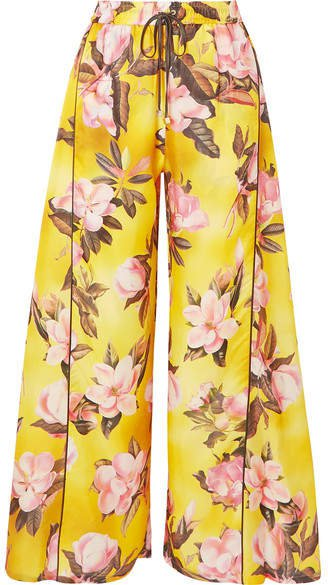 F.R.S For Restless Sleepers - Apate Floral-print Satin-twill Wide-leg Pants - Yellow