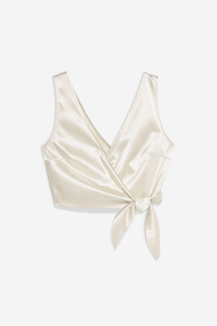 Satin Sleeveless Wrap Blouse | Topshop White