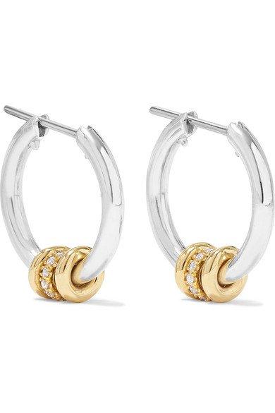 Spinelli Kilcollin   Ara sterling silver, 18-karat gold and diamond hoop earrings   NET-A-PORTER.COM