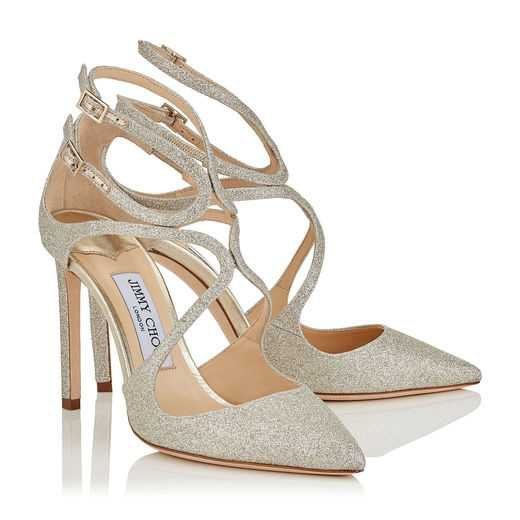 Platinum Ice Dusty Glitter Pointy Toe Pumps | Lancer 100 | CR18 | JIMMY CHOO