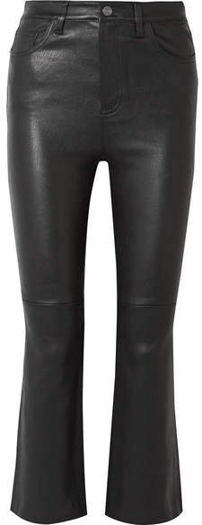 The Kick Cropped Leather Flared Pants - Black