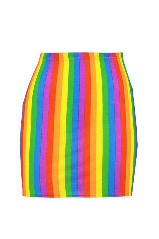 Rainbow Bodycon Mini Skirt   Boohoo