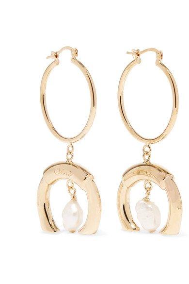 Chloé | Gold-tone faux pearl earrings | NET-A-PORTER.COM