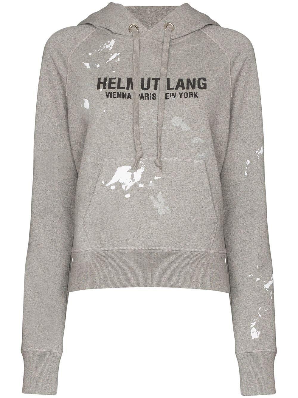 Helmut Lang logo-print paint-splattered Cotton Hoodie - Farfetch