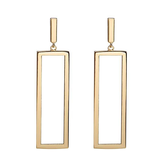 Geometric Drop Earrings, Rectangle Drop Earrings for Women Girls (Gold): Clothing