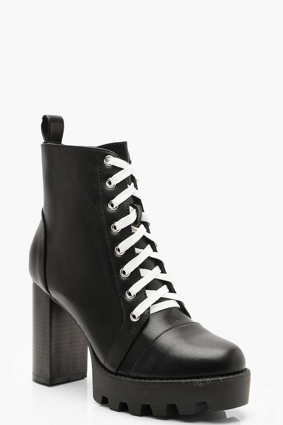 Contrast Lace Cleated Heel Hiker Boots | Boohoo