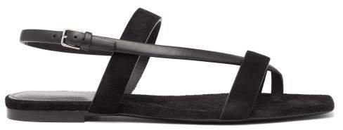 Hiandra Square Toe Suede Sandals - Womens - Black