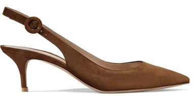Anna 55 Suede Slingback Pumps - Brown