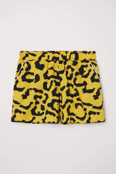 Patterned Cotton Shorts - Black