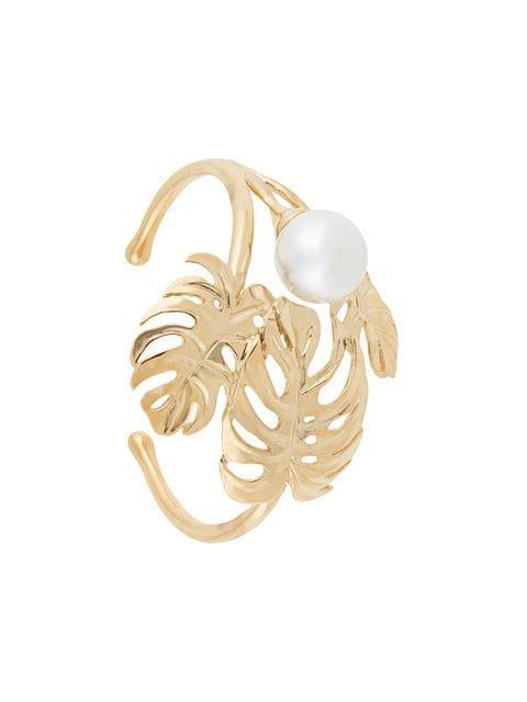 Ingie Paris leaf and pearl bangle bracelet
