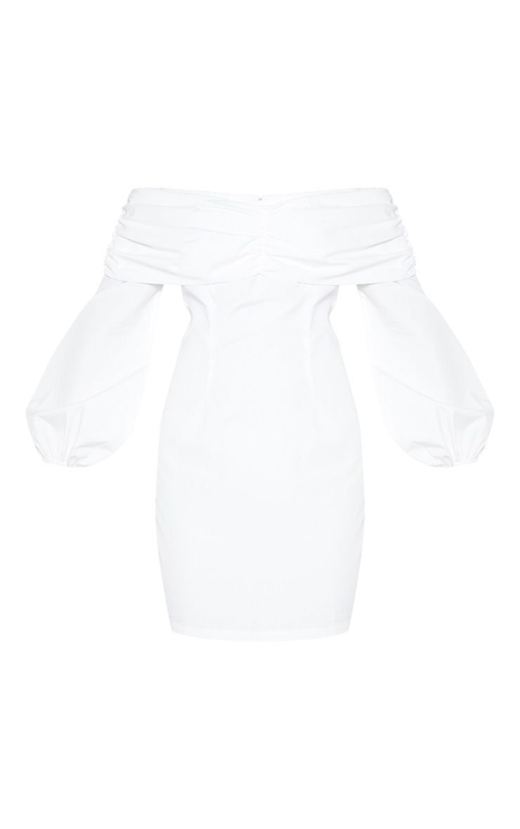 Chocolate Puff Sleeve Ruched Bardot Bodycon Dress | PrettyLittleThing USA