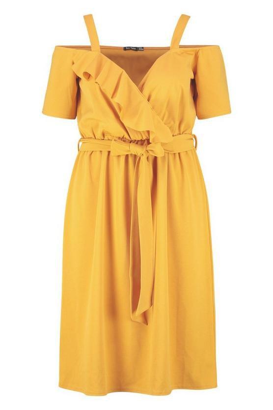 Plus Plunge Ruffle Belt Midi Dress | Boohoo