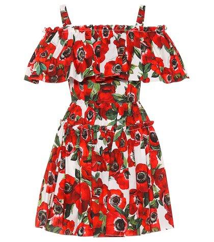 Floral cotton poplin minidress