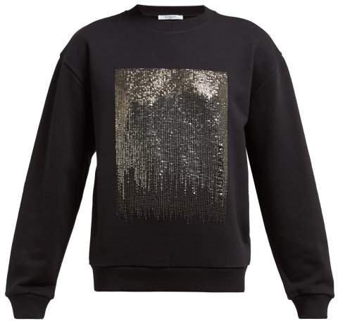 Silver Sequinned Jersey Sweatshirt - Womens - Black Multi