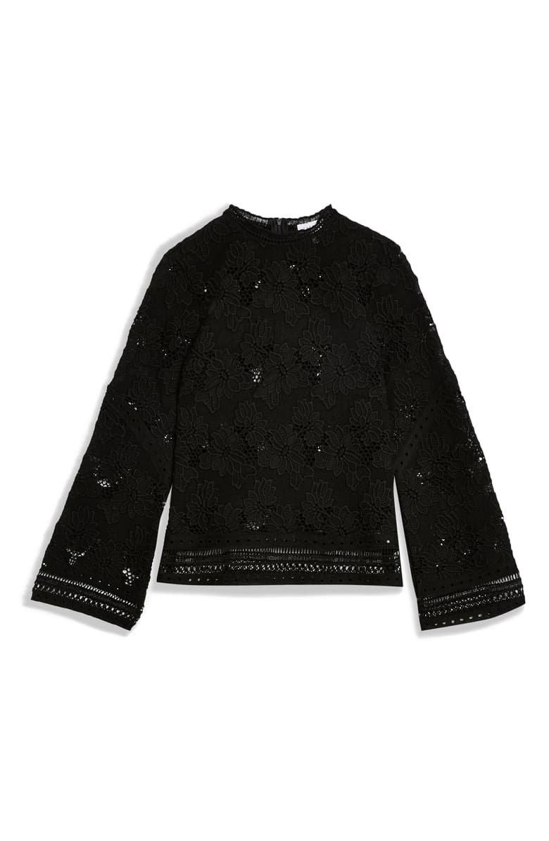 Topshop Floral Lace Blouse black
