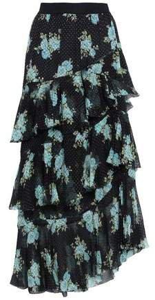 Tiered Flocked Floral-print Silk-blend Midi Skirt