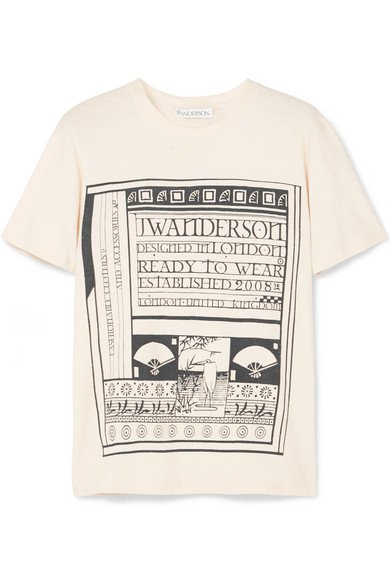 JW Anderson   Distressed printed cotton and silk-blend jersey T-shirt   NET-A-PORTER.COM