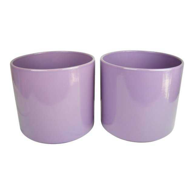 Lavender Gainey Planters, Pair | Chairish