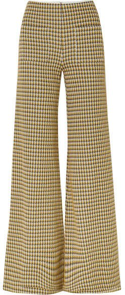 Luc Houndstooth Tweed Wide-leg Pants - Yellow