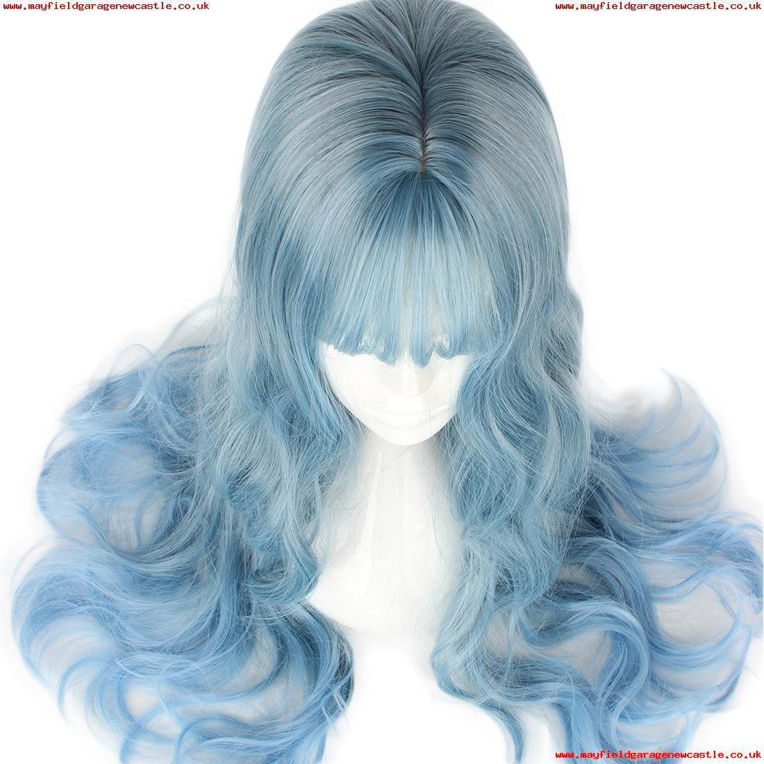 Japanese womens daily air bangs long curly hair sprouting sister ice blue curly pear head big wave wig
