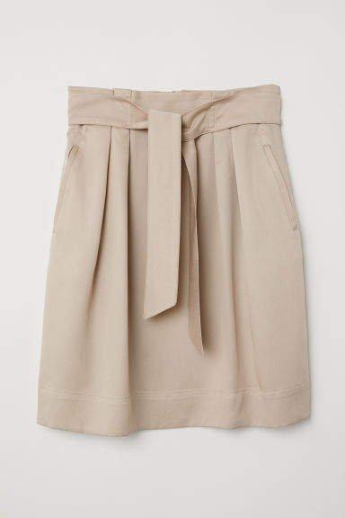 Skirt with Tie Belt - Beige