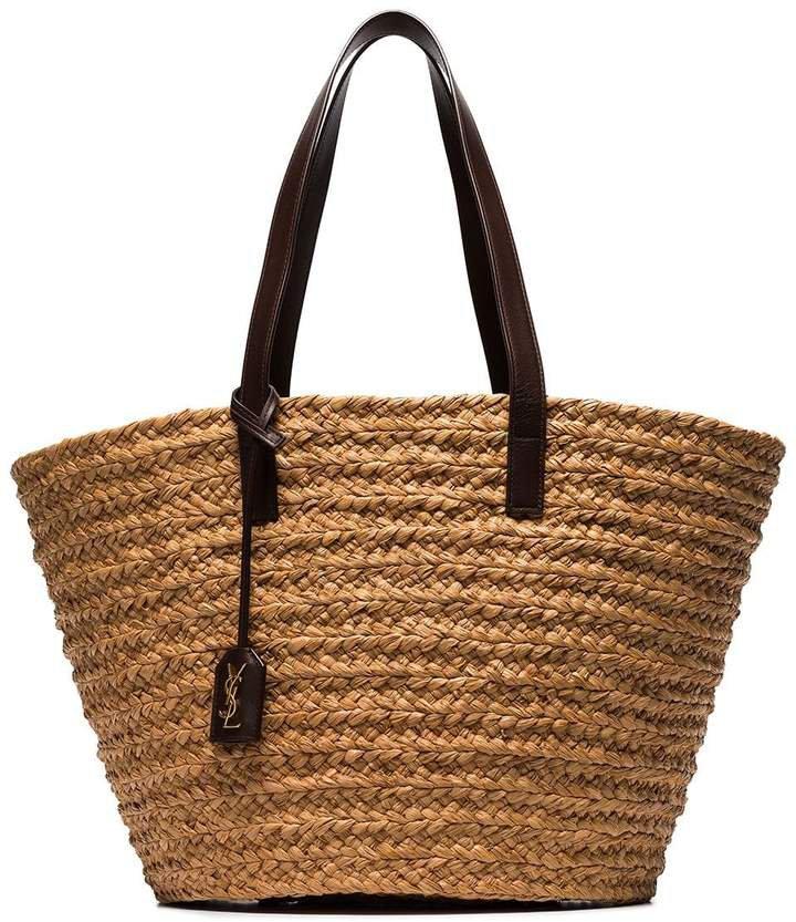 brown Panier medium straw tote bag