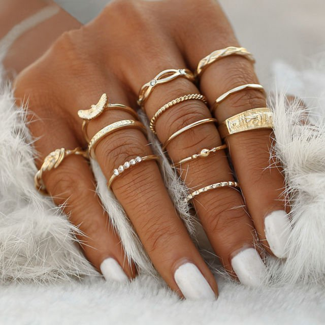 12Pcs/Set Vintage Gold Boho Midi Finger Knuckle Rings Women Jewelry Gift Fashion | eBay