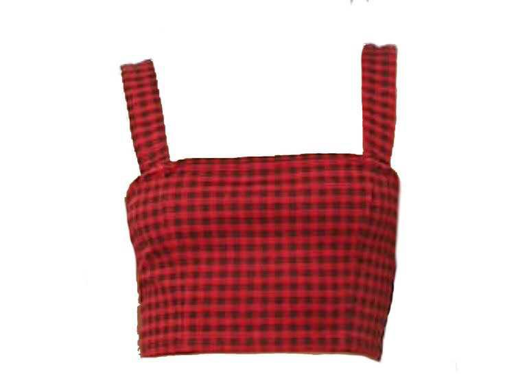 Black and Red Checkered Crop Top