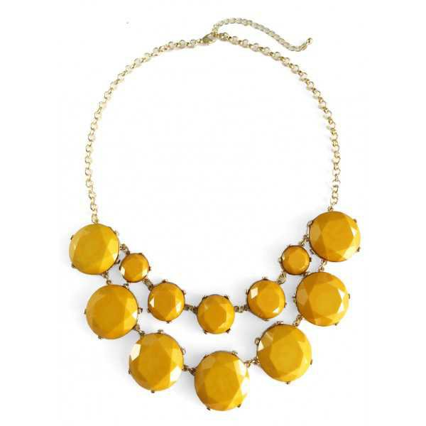 Mustard Yellow Marble Stone Bauble Box Statement Necklace