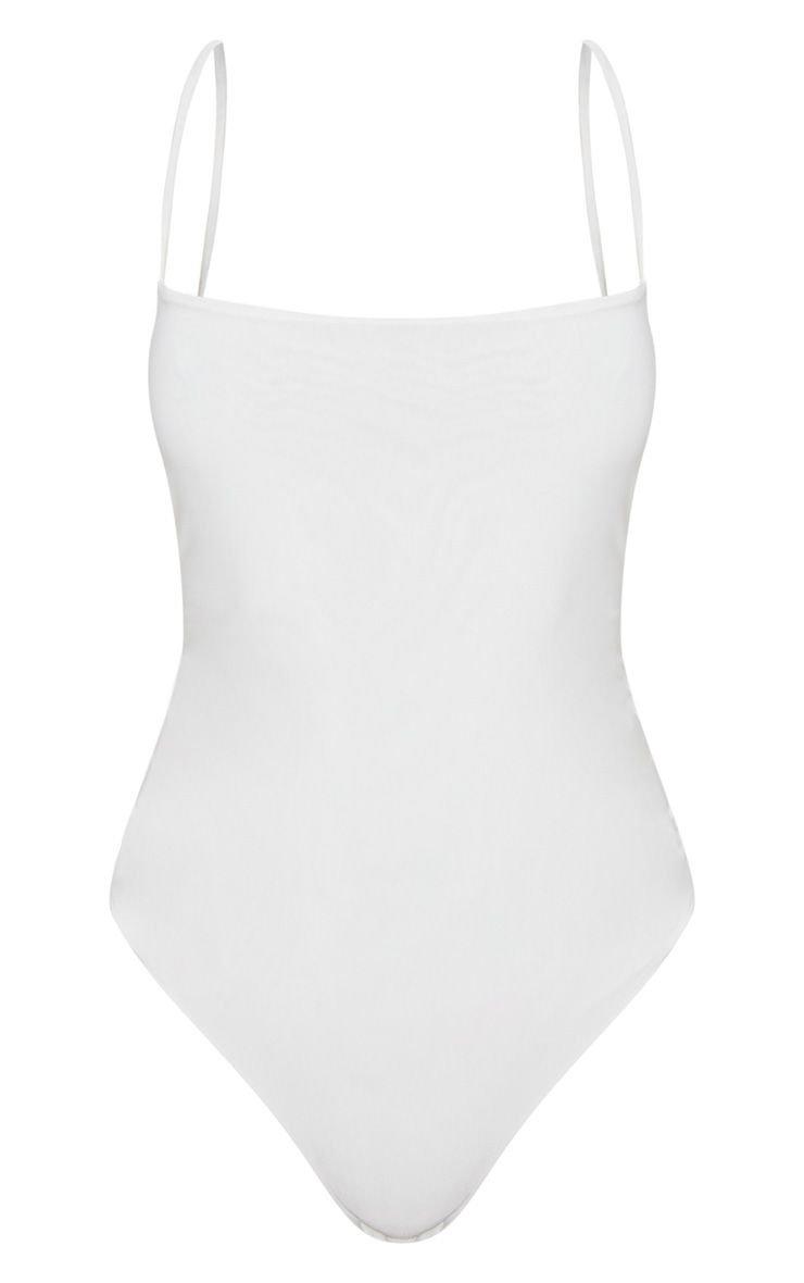 White Slinky Square Neck Spaghetti Strap Bodysuit   PrettyLittleThing USA