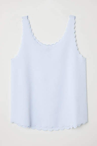 Scallop-edged Tank Top - Blue
