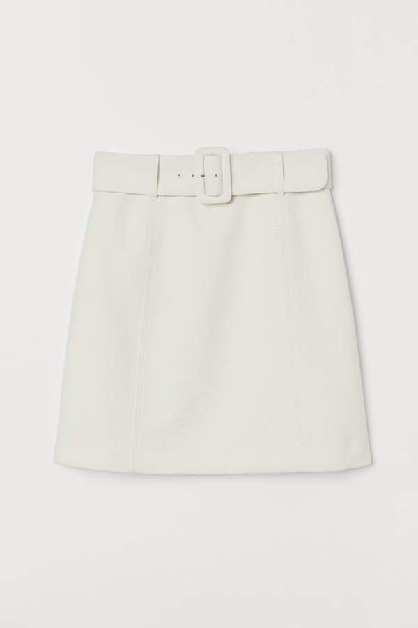 Skirt with Belt - White