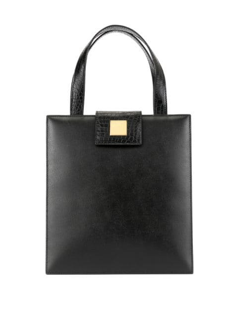 Céline Pre-Owned Logo Plaque Square Tote - Farfetch