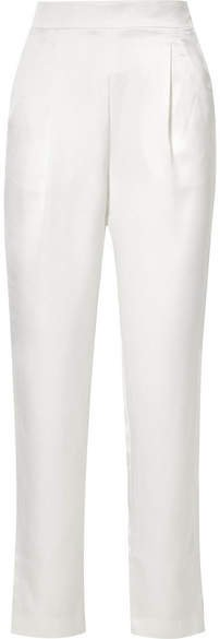 Satin Straight-leg Pants - Ivory