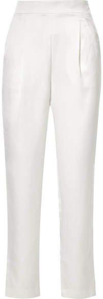 Satin Straight-leg Pants - Ivory